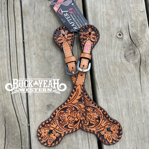 Rafter T Ranch Co. Ladies Hand Tooled and Painted Spur Straps
