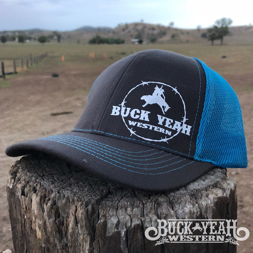 Charcoal/Blue Trucker Cap - Buck Yeah Barbed Wire logo