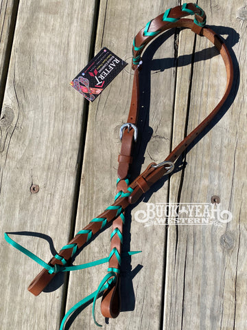 Rafter T Ranch 1 Ear Headstall with Turquoise Leather Plaits