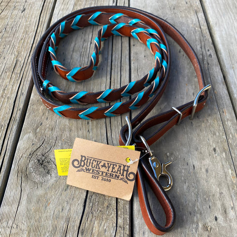 8ft leather braided rein with Teal lacing