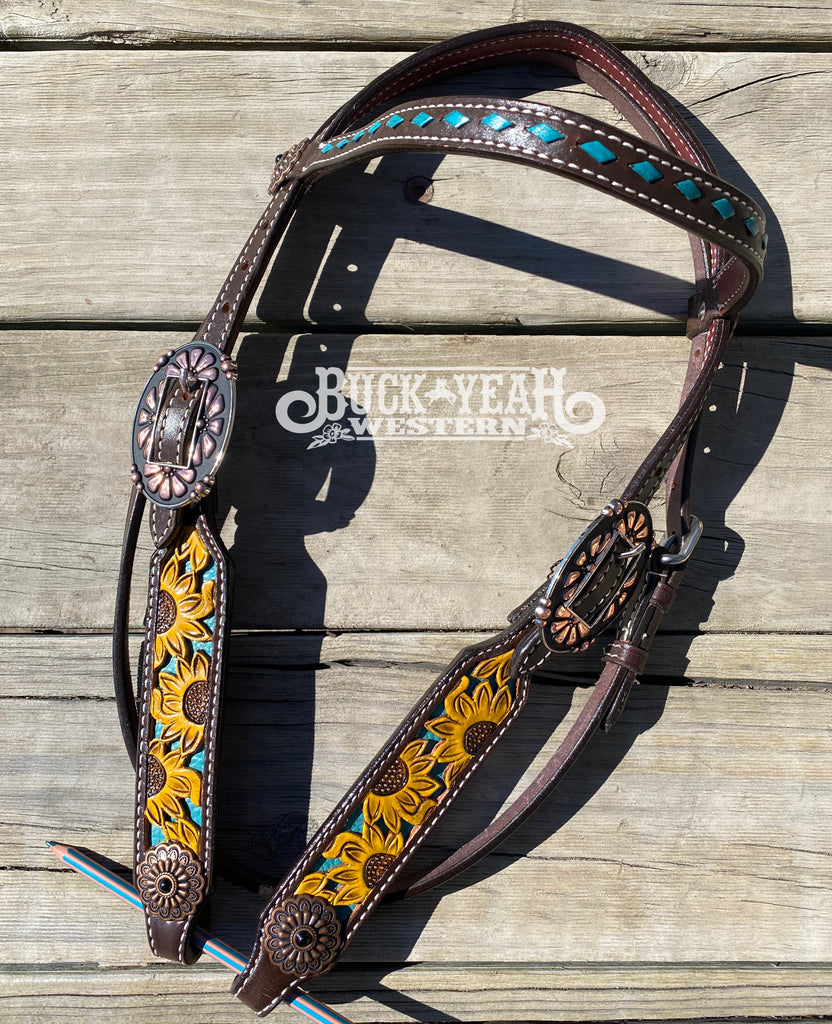 Argentina cow leather brow band headstall with hand painted sunflowers
