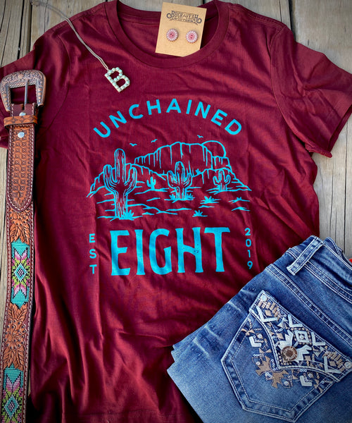 Unchained Eight Maroon Cactus Tee