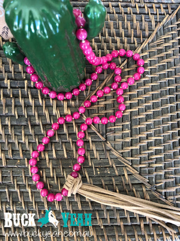 Fuchsia Stone and Leather Tassel Necklace