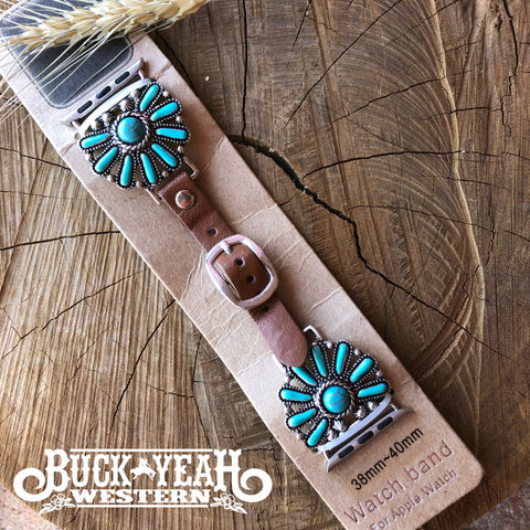 Silver/Turquoise Blossom Concho Apple Watch Leather Band