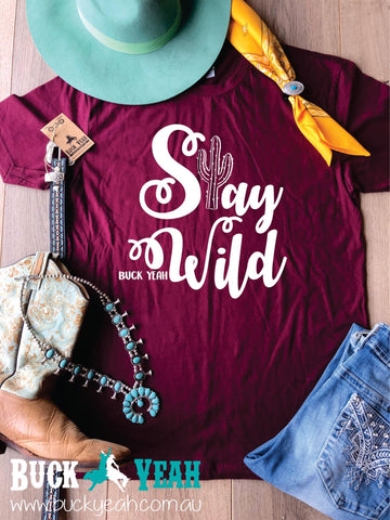Maroon Stay Wild Graphic Tee