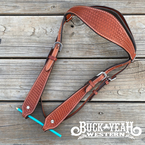 Argentina Cow Leather Headstall with Basketweave Tooling