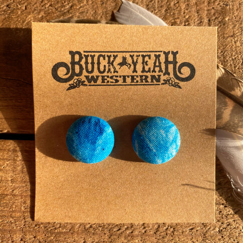 19mm Blue Wash Fabric Earrings