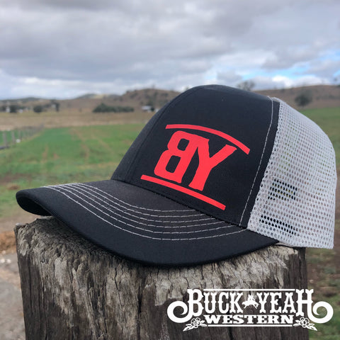 Black/Grey Trucker Cap - Metallic Red BY Brand