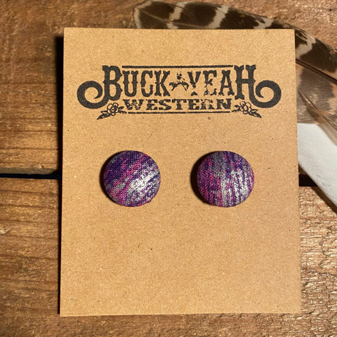 15mm Purple Silver Splash Fabric Earrings