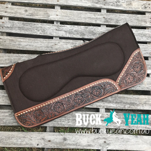 Brown felt with built up pad with floral tooled wear leathers