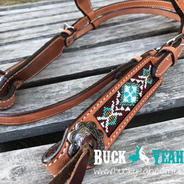 Argentina cow leather headstall with beaded inlays