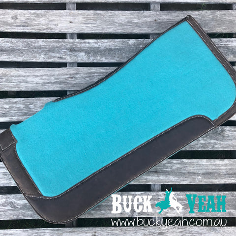 "31"" x 32"" Teal felt saddle pad."