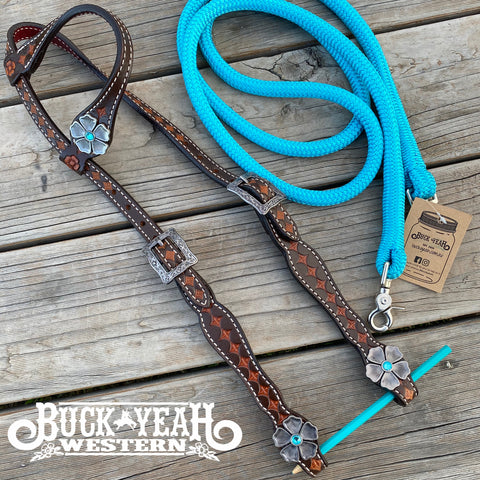 Argentina cow leather single ear headstall with flower concho