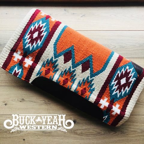 "34"" x 36"" Terracotta/Turquoise Navajo design cutter saddle pad"