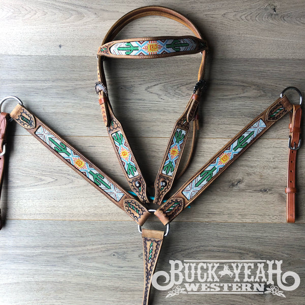 Cactus and Navajo Beaded headstall and breast collar set