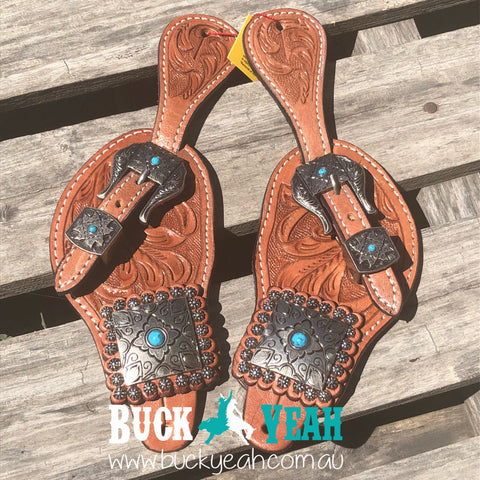Ladies tooled leather spur straps with vintage conchos and buckles