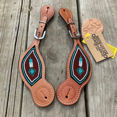 Ladies Turquoise/Chocolate Beaded spur straps