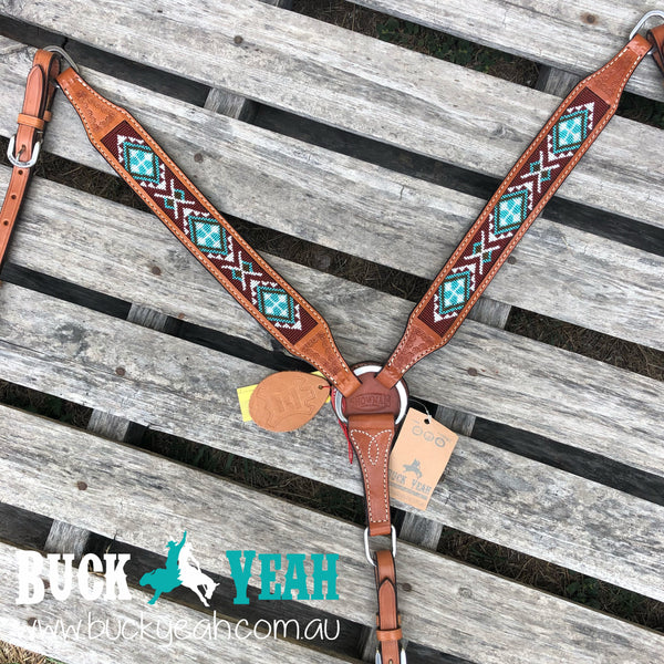 Argentina cow leather breast plate with beaded inlay