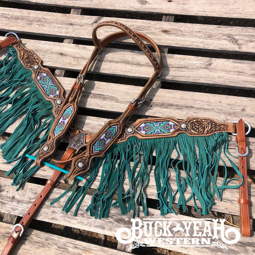 Leather headstall set with beaded inlay and suede leather fringe
