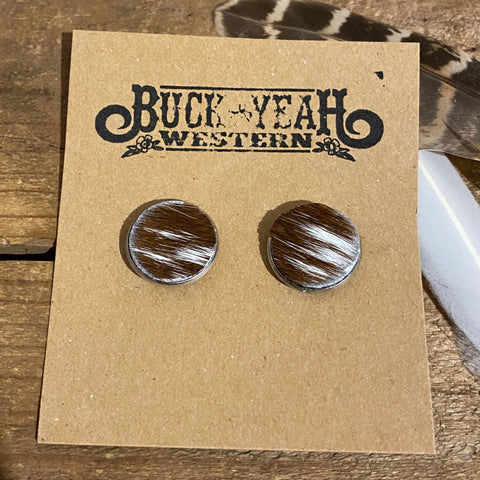 18mm Tan/White Cow Hide Earrings