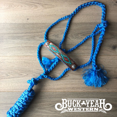 Woven blue nylon mule tape halter with hand painted aztec noseband.