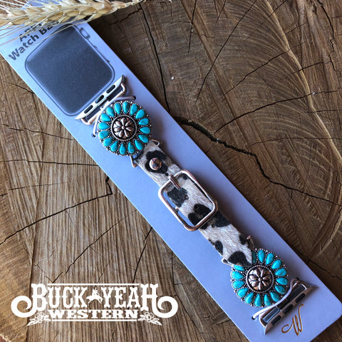 Turquoise Flower Concho Apple Watch Leopard Band