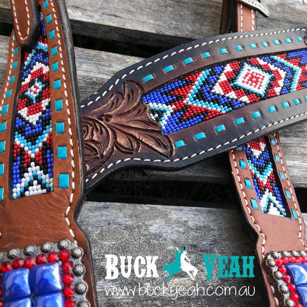 Headstall and breast collar with blue beaded inlay