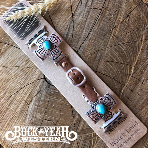 Silver/Turquoise Cross Concho Apple Watch Leather Band