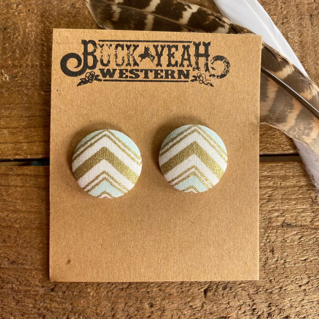 23mm Gold Mint White Chevron Fabric Earrings