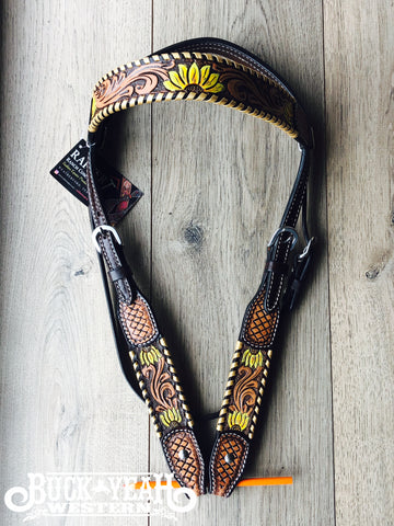 Rafter T Browband Headstall/Bridle- Painted Sunflower