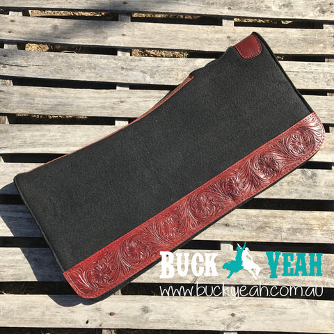 "32"" X 31"" Contoured felt pad with floral tooled wear leathers"