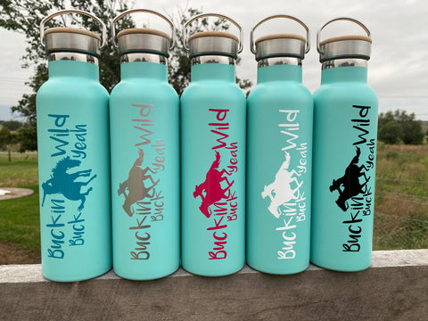 600ml Buckin Wild Double Wall Stainless Steel Bottles - Mint CUSTOM NAME