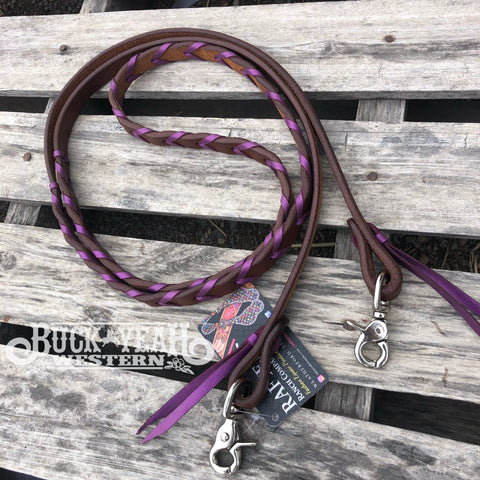 7ft Rafter T Laced Barrel Reins - Metallic Purple