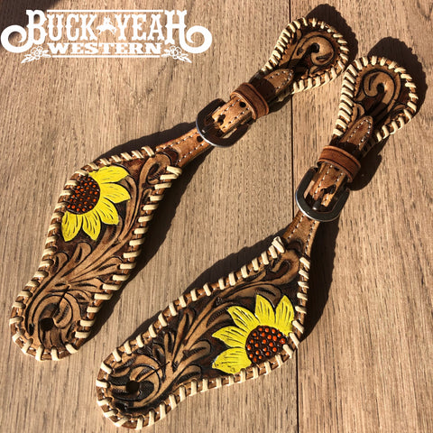 Ladies Hand painted sunflower design spur straps