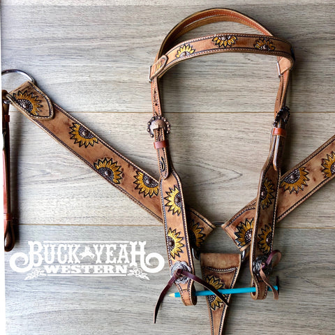 Hand Painted Sunflower Browband Headstall and Breast collar Set