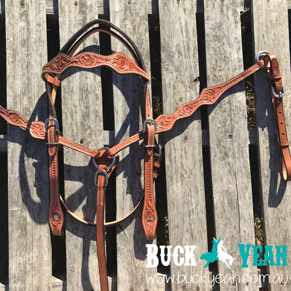 Argentina cow leather headstall and breast collar set