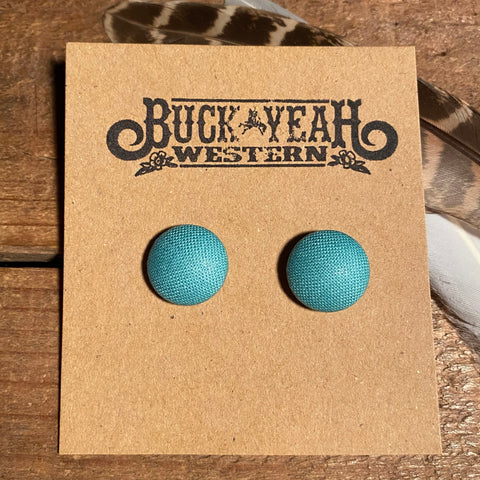 15mm Aqua Fabric Earrings