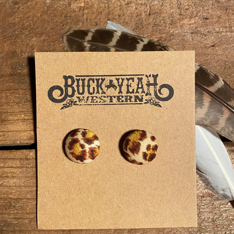 15mm Leopard Fabric Earrings