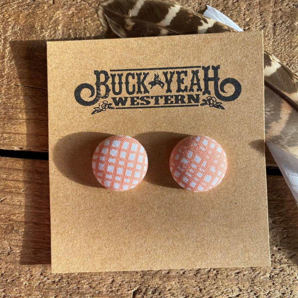 19mm Apricot Lines Fabric Earrings