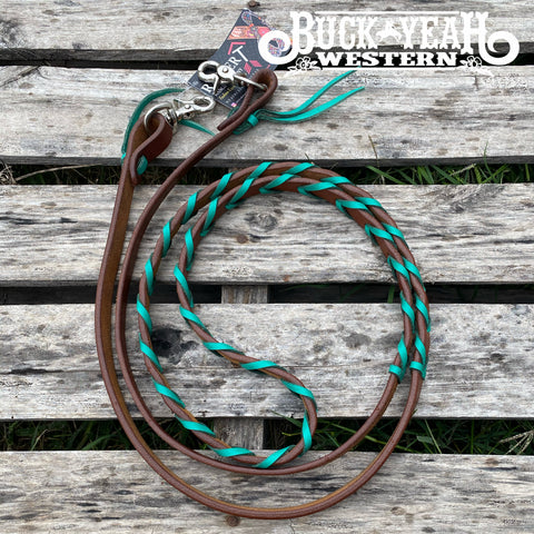 7ft Rafter T Laced Barrel Reins - Turquoise