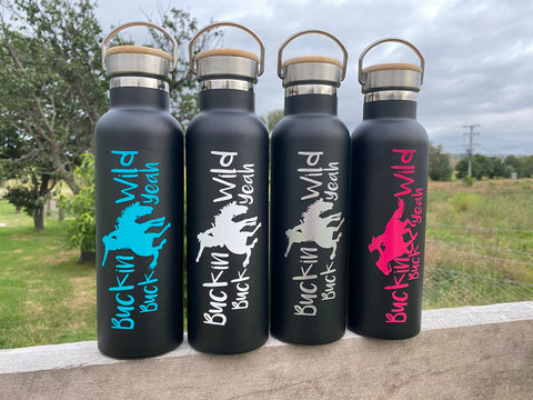 600ml Buckin Wild Double Wall Stainless Steel Bottles - Black CUSTOM NAME