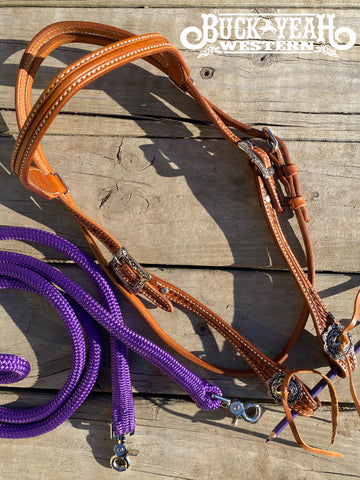Argentina cow leather Brow Band headstall