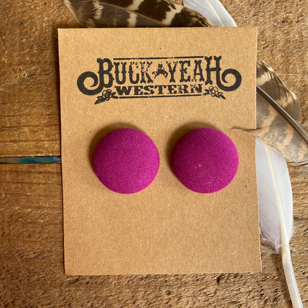 23mm Fushia Fabric Earrings