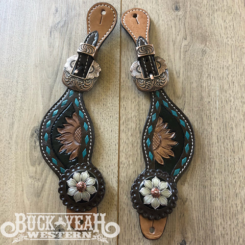 Ladies Sunflower Tooled Spur Straps