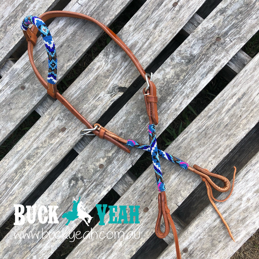 Blue Beaded one ear headstall