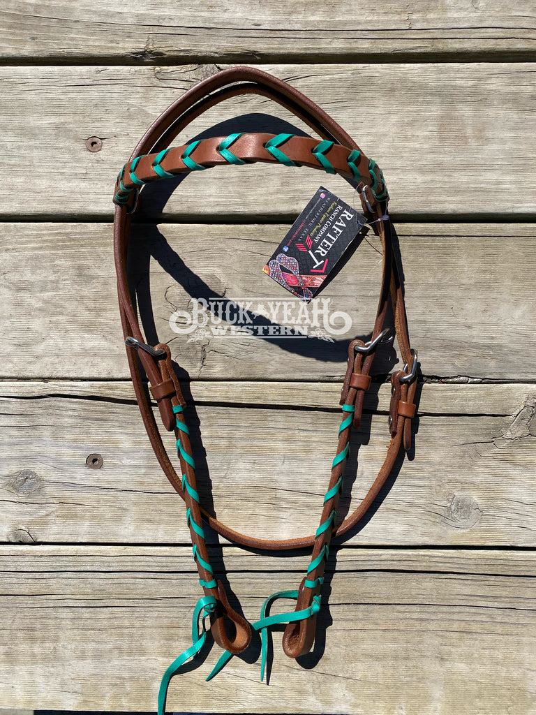 Rafter T Ranch Browband Headstall with Turquoise Leather Plaits