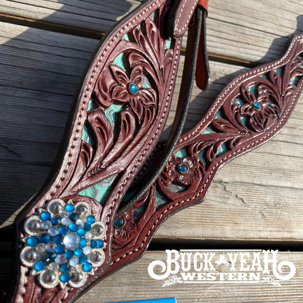 Teal headstall and breast collar set with crystal rhinestones