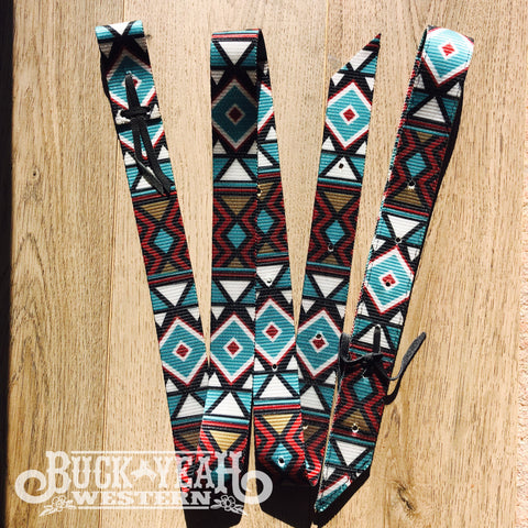 Turquoise/Red Patterned Latigo Set
