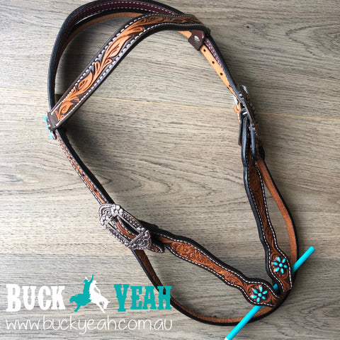 Argentina leather browband headstall with floral tooling
