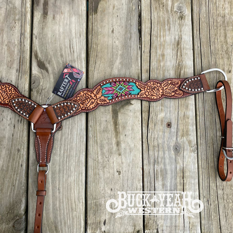 Rafter T Ranch Co. Beaded Inlay with Rose & Floral Tooling Breast Plate